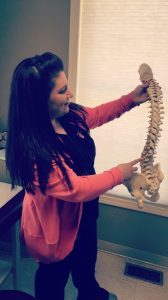 Cindy with a spine model